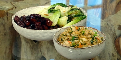 Macanese-style fried rice with baby scallops and dried shrimp