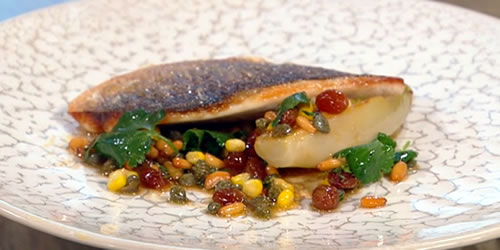 Sea bream with a sweetcorn, caper and pine nut dressing