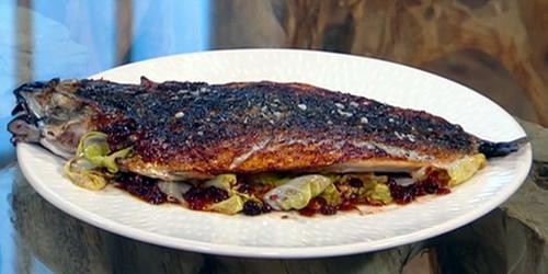 Mackerel with currant sauce and radicchio