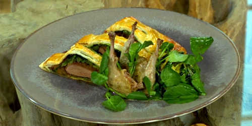 Pigeon and mushroom pie with watercress purée