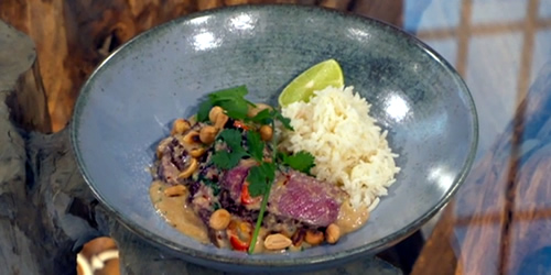 Quick beef massaman curry with coconut rice