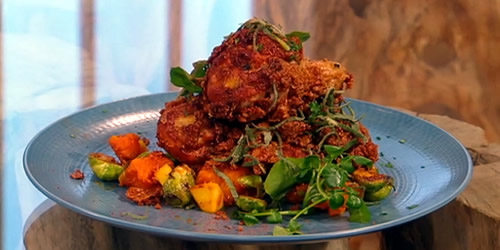 Fried chicken with pumpkin and Brussels sprouts