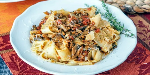 Pappardelle with mixed mushroom ragù