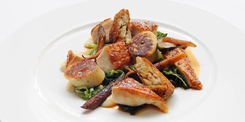 Roast guinea fowl, boudin blanc, black cabbage and chestnuts