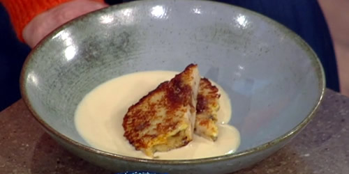Christmas bread pudding with rum custard