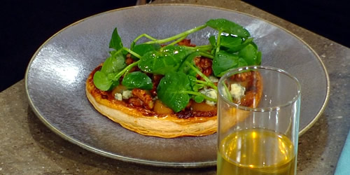 Pear, walnut and blue cheese tart