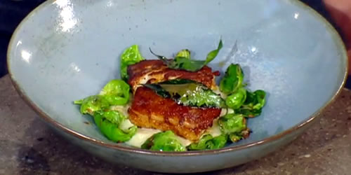 Spiced hake with artichoke cream and Brussels sprouts