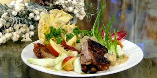 Spiced lamb breast with winter salad