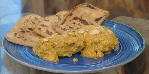 Saffron chicken korma with wholemeal paratha