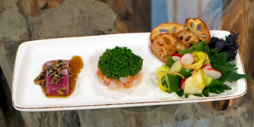 Salmon and scallop tartare with squid, tuna and ponzu dressing