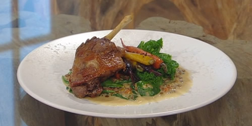 Confit duck with lentils and sugar-glazed carrots
