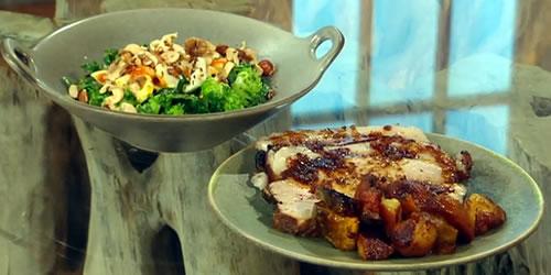 Goan-style pork loin with broccoli salad