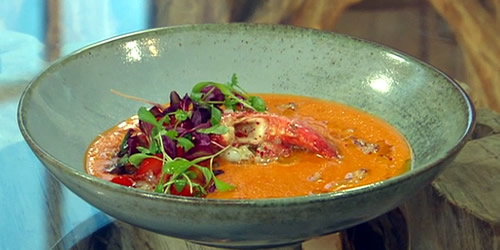 Spiced lobster with roast tomato and pepper soup
