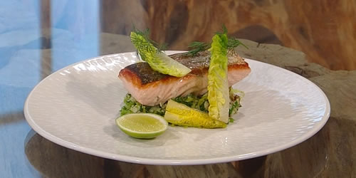 Salmon confit with crushed new potatoes