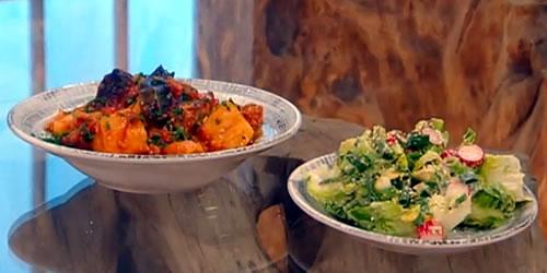 Tava lamb with avocado and radish salad