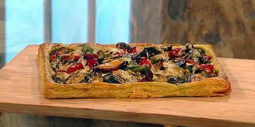 Vegetable pesto tart