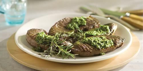 Grilled sirloin steak with salsa verde