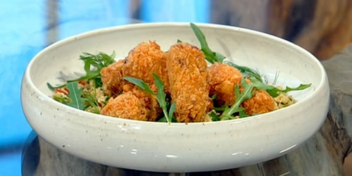 Mackerel croquettes with herby couscous