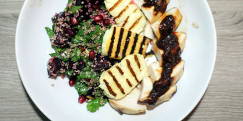 Roast chicken with beetroot and halloumi salad