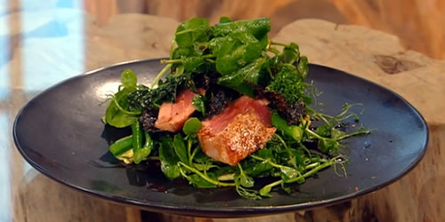 Tamarind-glazed tuna with watercress and broccoli salad