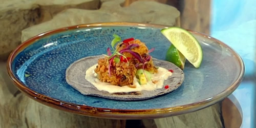 Fish tacos with tamarind aioli, green mango chow and tamarind pepper sauce