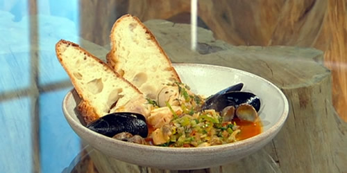 Spiced haddock with mussels and clams