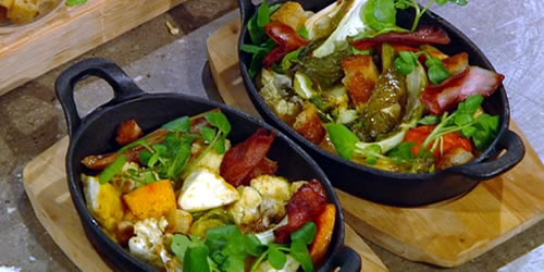 Bacon fat roasted vegetables with melted cheese