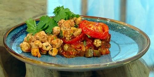 Braised and crispy fried okra