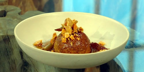 'Sticky toffee' polenta and almond cakes