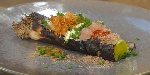 Charred-leeks-trout-roe-and-venison-saturdaykitchenrecipes.jpg